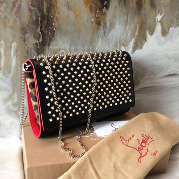 9d51de1690c Christian Louboutin Paloma Spike Black Clutch Bag